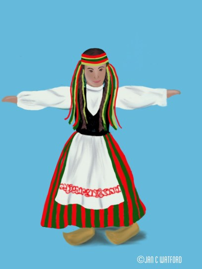 Gorl in tradtional clothes from Finland