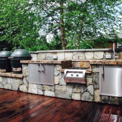 Out Door Kitchen Bronze Faucets Outdoor Designs Installation J Landscape Management Inc With Double Big Green Eggs And Fire Magic Appliances