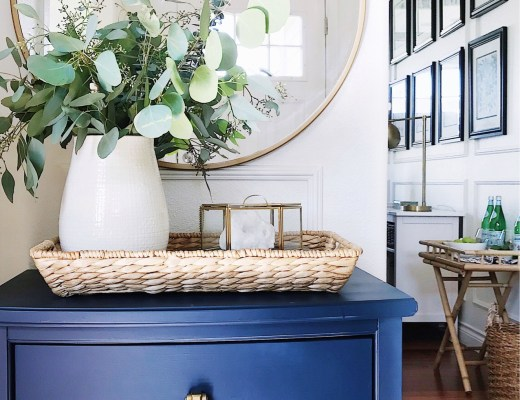 How to declutter your home and simplify your life-blue cabinet-entryway