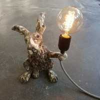 CERAMIC HARE LAMP BASE WITH VINTAGE BULB AND FITTING ...