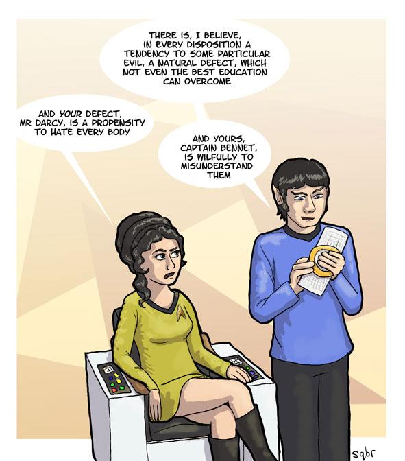 Jane Austen e Star Trek - Captain Bennet and Mr. Darcy (Dr. Spock) - ilustração de Sophie (sqbr)