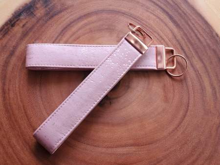 Rose Gold Cork Key Fob Wristlet, Sustainable Vegan Key Chain, with Rose Gold Hardware.