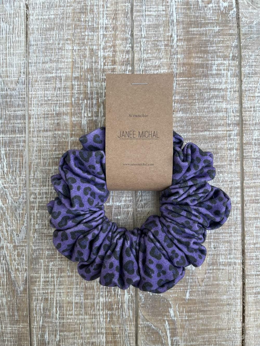 Purple leopard print hair Scrunchie