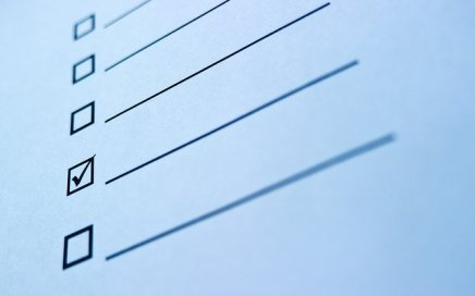 A blank checklist with a single checkmark