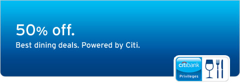 50% off. Best Dining Deals. Powered by Citi.