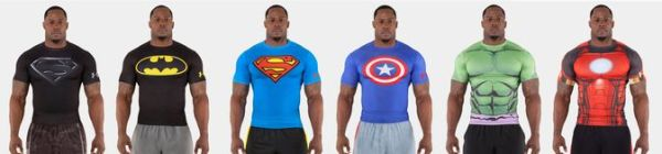 Under Armour Alter Ego Baselayer SuperHero T-Shirts - DC Comics and Marvel - Superman, Iron Man, Batman, Captain America and Hulk