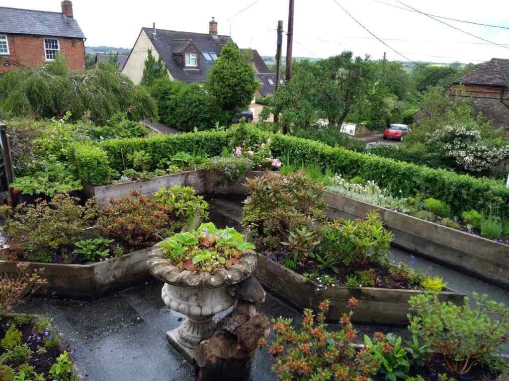 Pots of plants on garage roof