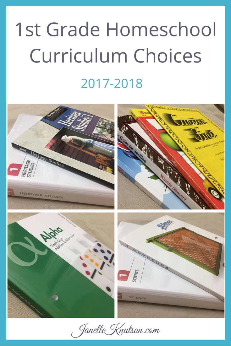 1st Grade Homeschool Curriculum Choices 2017-2018