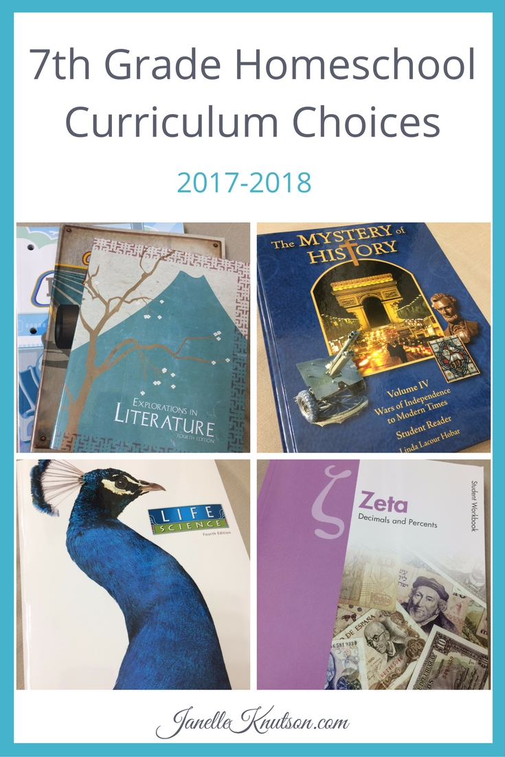 Check out my 7th grade homeschool curriculum choices