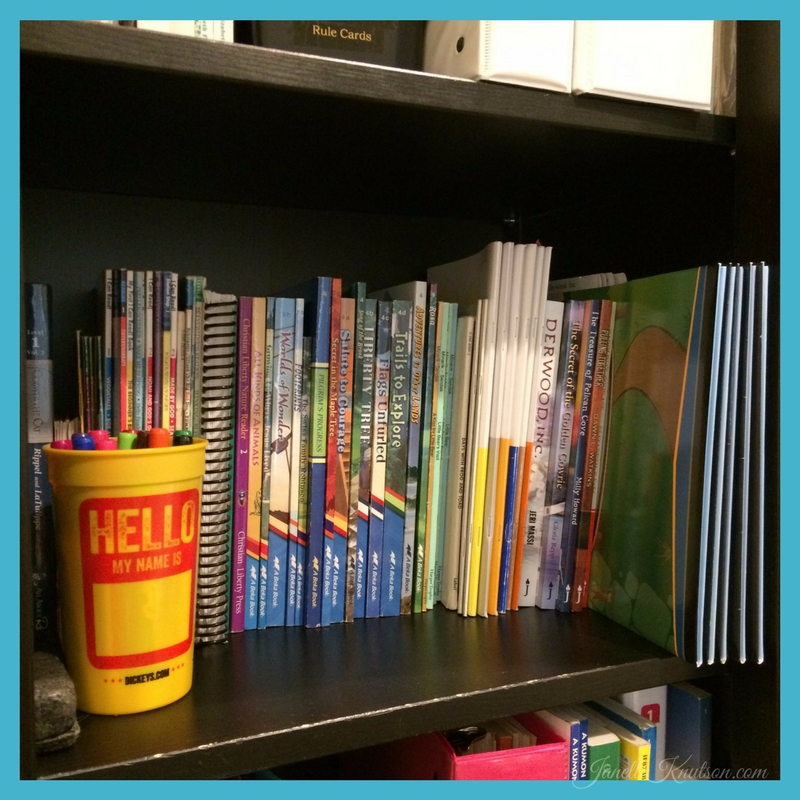 Early readers and BJU Press Book Link shelf.