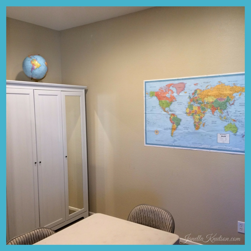 homeschool room tour maps and globe