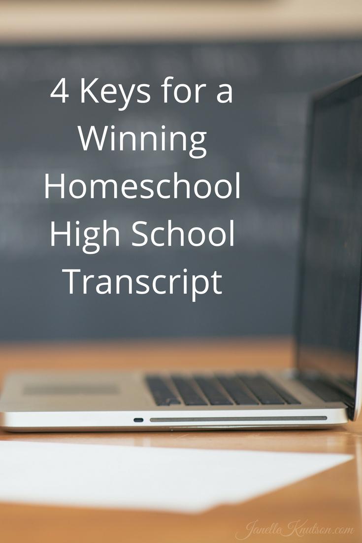 4 Keys for a Winning Homeschool High School Transcript - Janelle Knutson