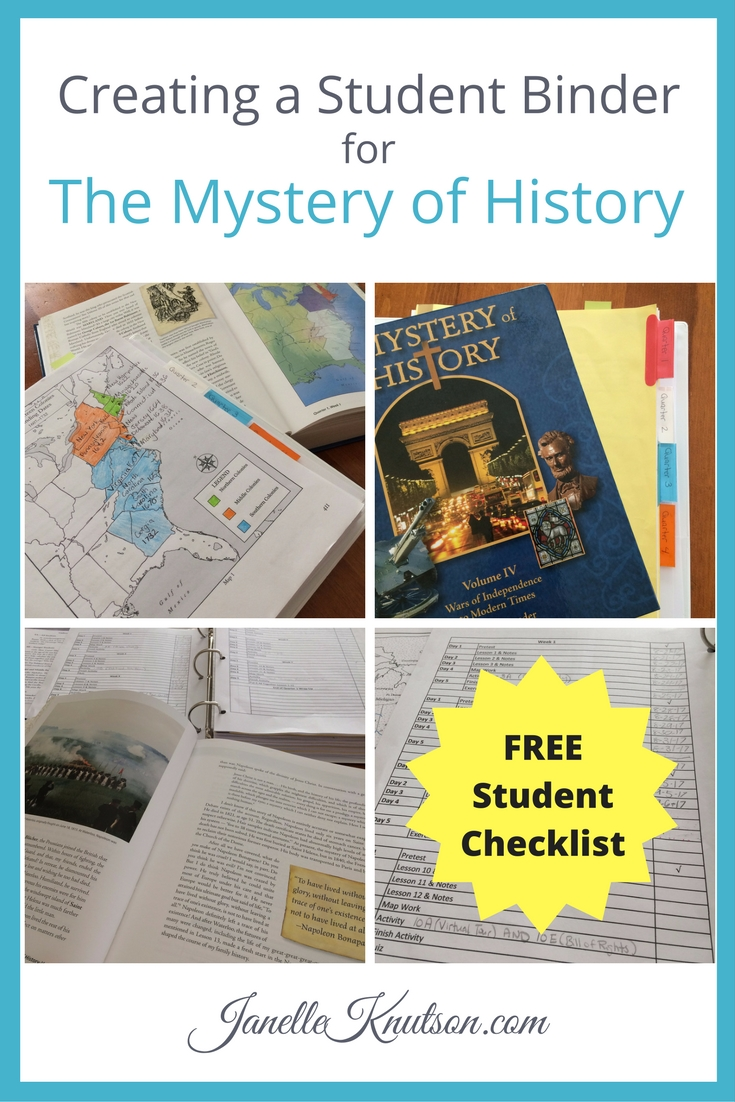 Creating a Student Binder for The Mystery of History FREE checklist