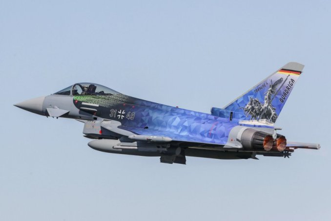 A Luftwaffe Eurofighter sporting a special 'Quadriga' paint scheme. Germany has ordered 38 new aircraft to be built to this Tranche 4 standard, with deliveries to commence in 2025. (Airbus)
