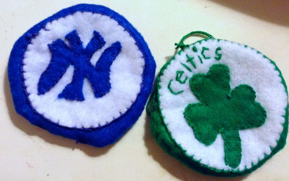 Yankees and Celtics felt ornaments