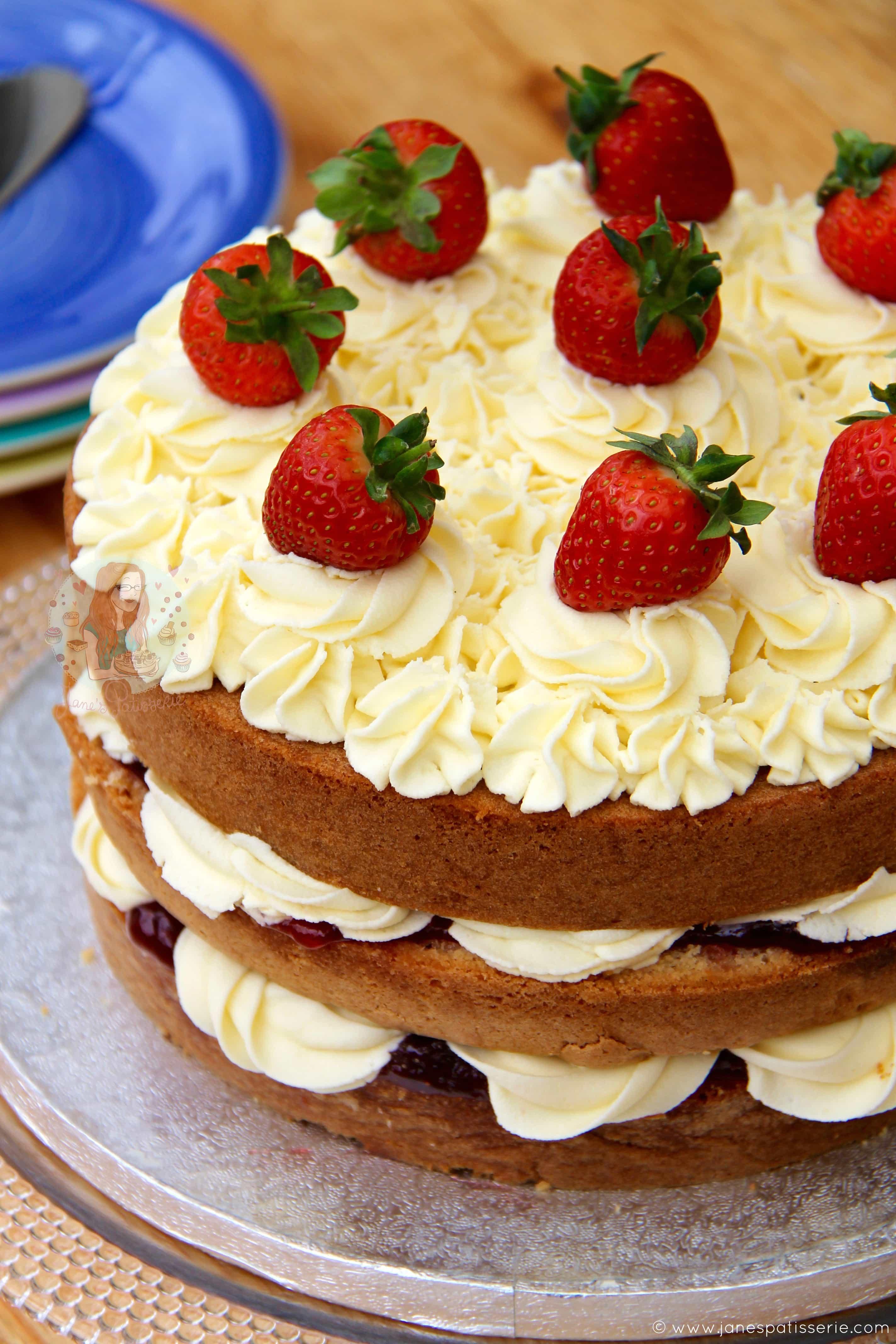 Excellent Victoria Sponge Celebration Cake Janes Patisserie Personalised Birthday Cards Arneslily Jamesorg