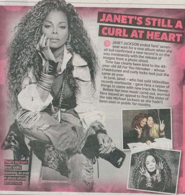 Janet Jackson in Metro Newspaper
