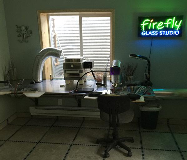 Neon sign in my lampwork studio - www.janetcrosby.com