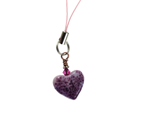Purple Blush Heart Charm