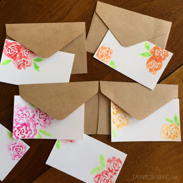 Watercolor Flower Card Envelopes