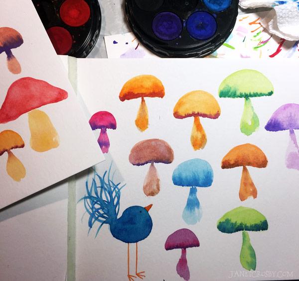 Watercolor mushroom study and bird - janetcrosby.com