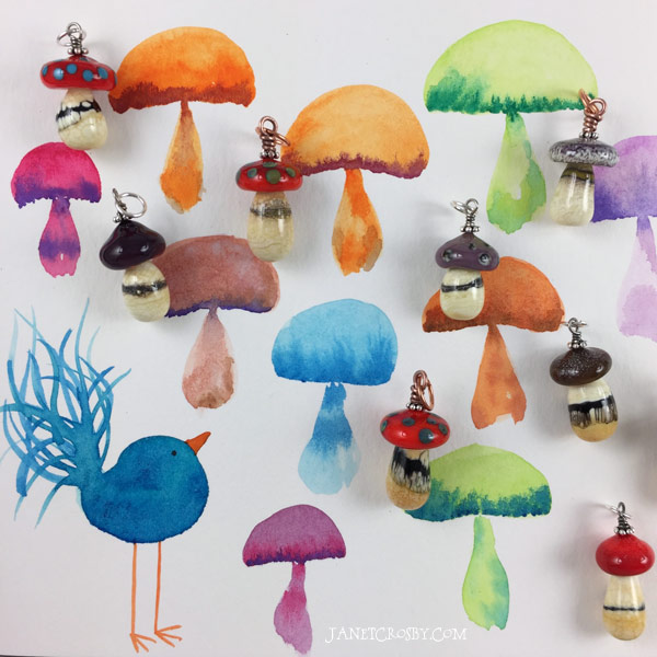 Watercolor and glass mushrooms - janetcrosby.com
