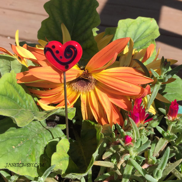 Heart Jewel Plant Stake by Janet Crosby