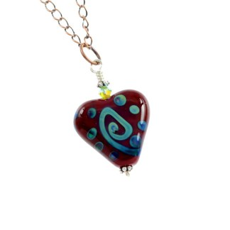 Ocean Love Heart Necklace by Janet Crosby