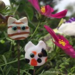 2 Kitties - Tabby and Calico Cat Garden Stakes by Janet Crosby