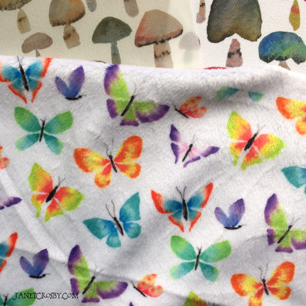 3 Spoonflower Fabrics - Watercolor Mushrooms and Butterflies by Janet Crosby