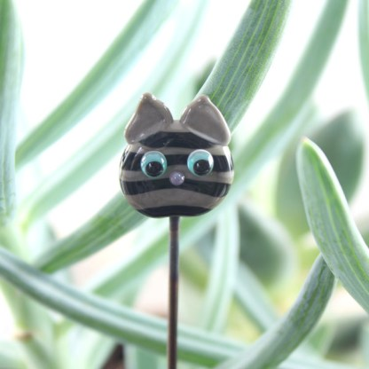 Grey Tabby Plant Stake by Janet Crosby