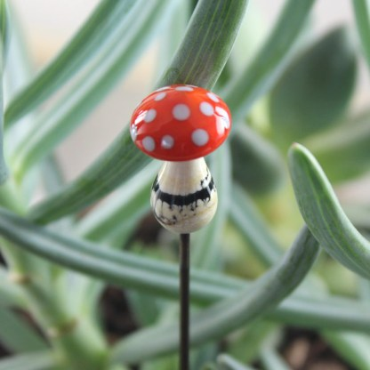 Orange Mushroom Garden Stake by Janet Crosby