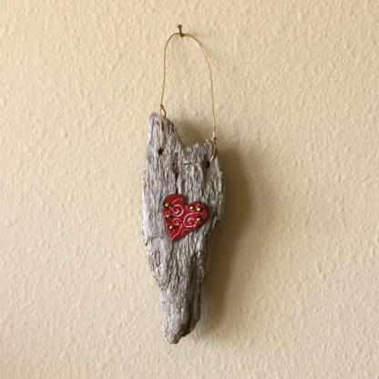 Driftwood Red Swirl Heart