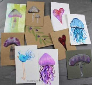 Mini Watercolor Cards #2 by Janet Crosby