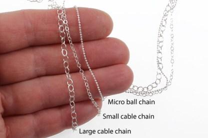 Sterling Chain Size Comparison