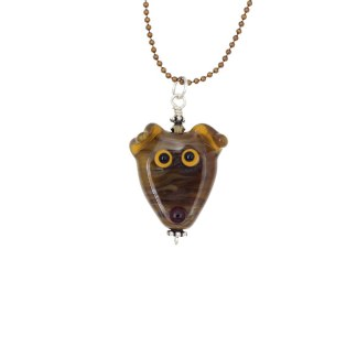 Brown Brindle Dog Necklace by Janet Crosby