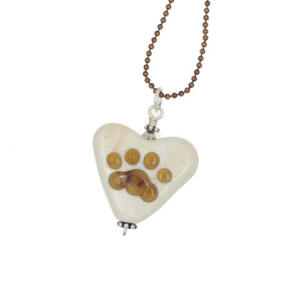Smoky Topaz Paw Heart Necklace by Janet Crosby