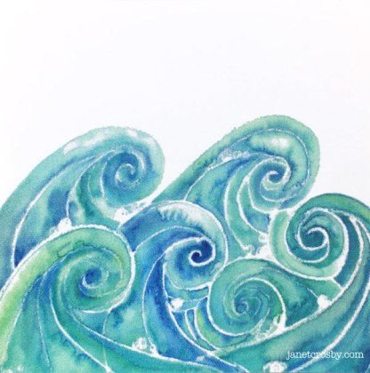 Watercolor Waves vinyl sticker by Janet Crosby