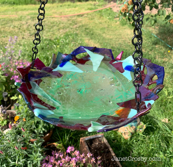 Glass bird bath