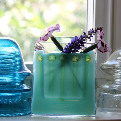 Blue Green Glow -- Fused Glass flower vase by Janet Crosby