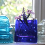 Cobalt raindrops -- Fused Glass flower vase by Janet Crosby