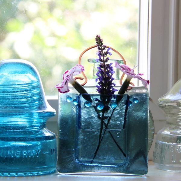 Mermaid Rain -- Fused Glass flower vase by Janet Crosby