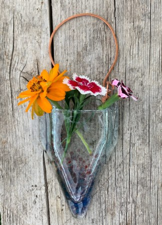 Chill Point -- Fused Glass flower vase by Janet Crosby