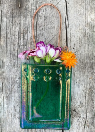 Irid Emerald -- Fused Glass flower vase by Janet Crosby