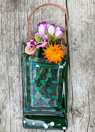 Twilight Leaves -- Fused Glass flower vase by Janet Crosby