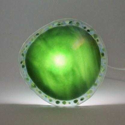 Green Wave mushroom lamp by Janet Crosby