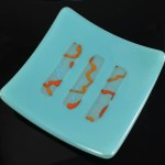 Celebration fused glass dish by Janet Crosby