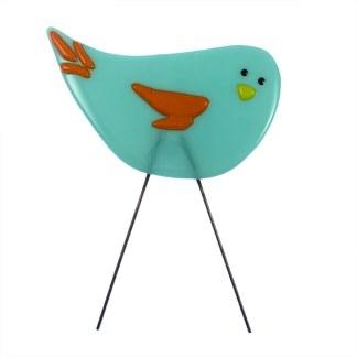 Garden Bird - Fire Bluebird by Janet Crosby