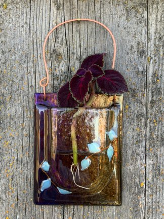 Golden Mint Leaves fused glass pocket vase by Janet Crosby