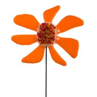 Garden Stake - Mod Orange Flower Garden Stake